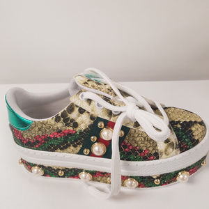 Shoes - Snake Print Oxford Wedge Pearl Sneakers